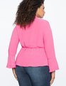 Peplum Bow Blouse with Pleat Detail PINK YARROW