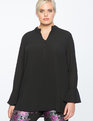 Flare Sleeve Pullover Tunic Blouse TOTALLY BLACK