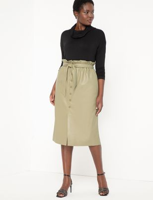 Faux Leather Snap Front Skirt