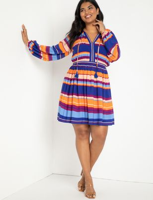 Striped Dress With Full Sleeves