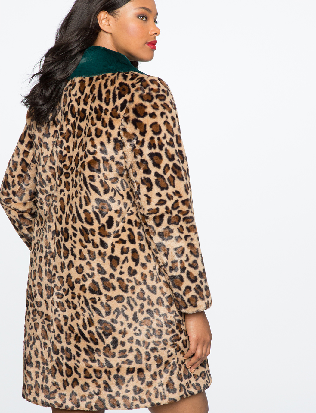 Leopard Coat with Fur Collar