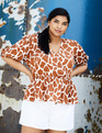 Button Front Peplum Top Giraffe
