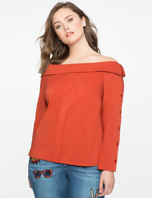 Off the Shoulder Button Sleeve Top