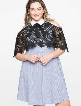 Lace Overlay A Line Dress
