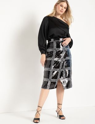 Windowpane Sequin Wrap Skirt
