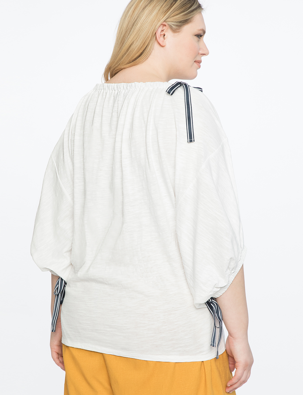 Boat-neck Balloon Sleeve Top