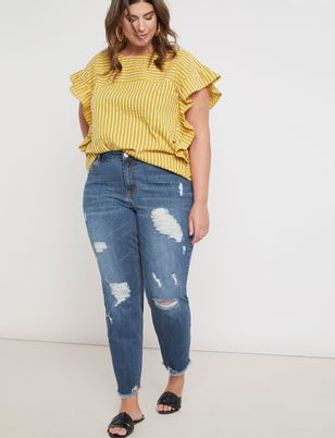 Gena Fit Distressed Boyfriend Jean