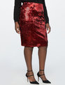 Two Tone Sequin Pencil Skirt Shiny Jester Red/Matte Jester Red