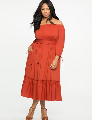 Off the Shoulder Dress with Flounce Detail