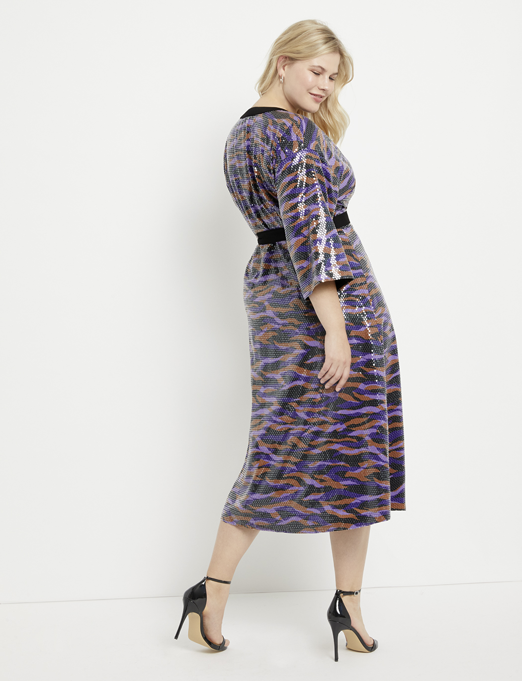 Printed Sequin Midi Wrap Dress