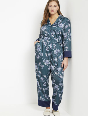 Block Print Collar Jumpsuit