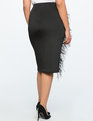 Pencil Skirt with Feather Detail Black