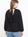 Keyhole Mock Neck Peplum Top Black