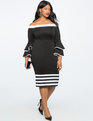 Colorblock Flare Sleeve Dress TOTALLY BLACK/TRUE WHITE