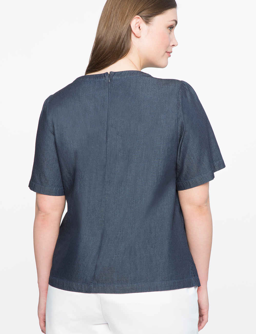 Bow Neck Chambray Top