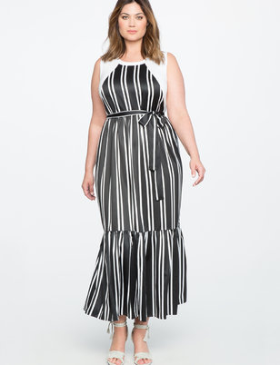 Pleated Maxi Dress with Tie Waist Detail