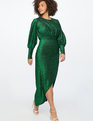 Sparkle Maxi Dress with Wrap Skirt Emerald