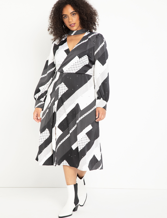 Printed Midi Dress With Pleats At Skirt