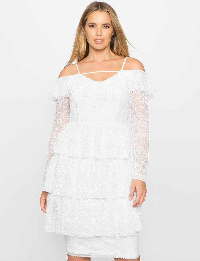 Tiered Lace Dress Womens Plus Size Dresses Eloquii