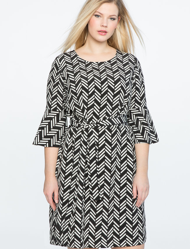 Printed Flared Sleeve Dress