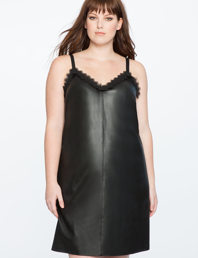 Faux Leather Slip Dress with Lace Detail