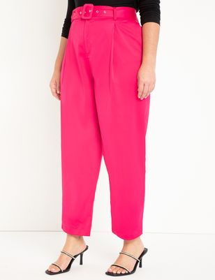 High Waisted Satin Trouser with Belt