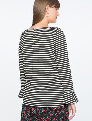 Draper James for ELOQUII Stripe Long Sleeve Top