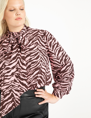 Printed Blouse with Tie Neck