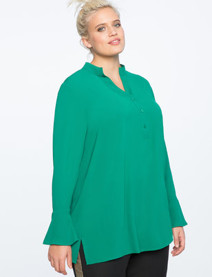 Flare Sleeve Pullover Tunic Blouse