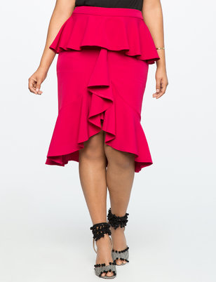 Ruffle Front Skirt with Peplum Detail
