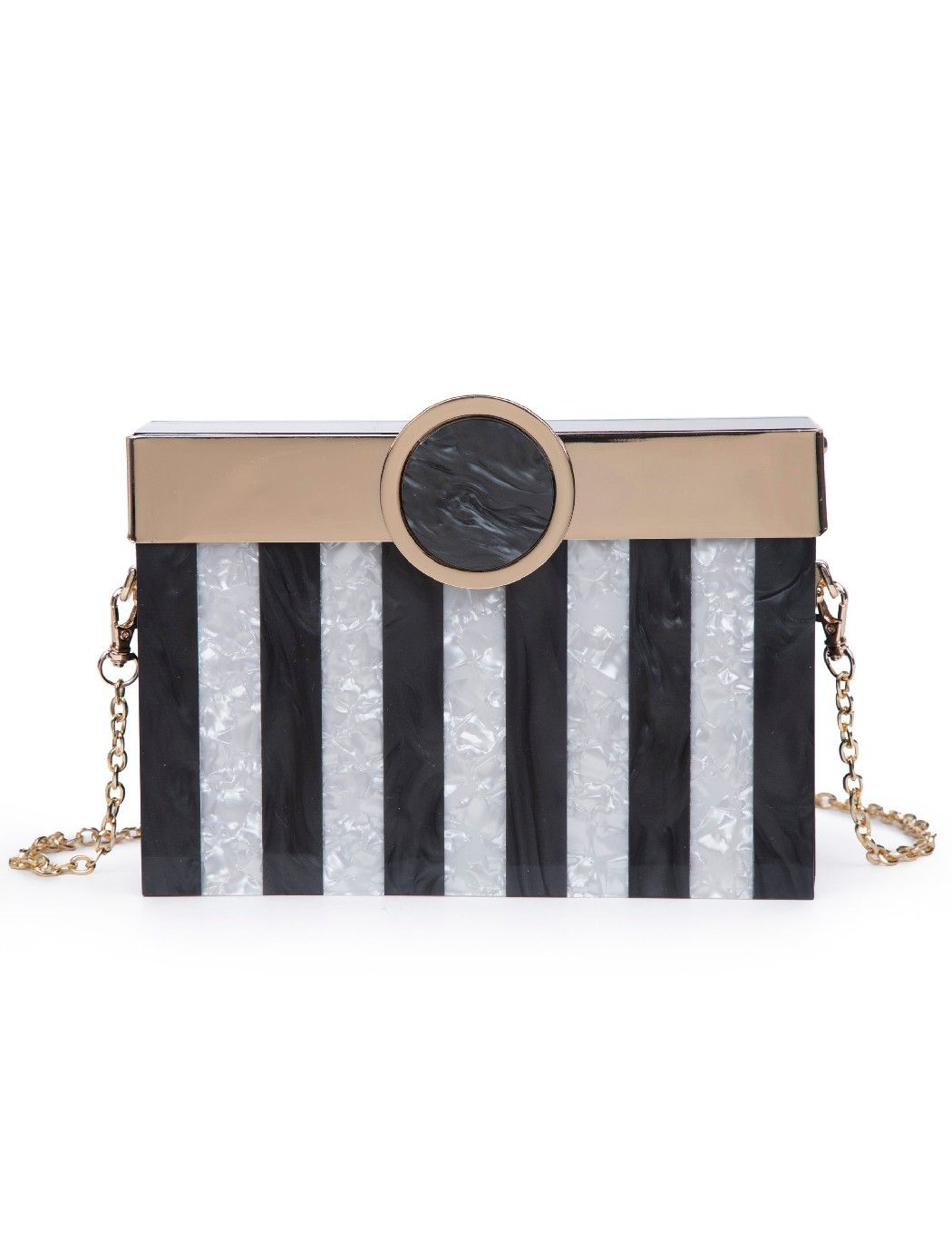 Striped Acrylic Box Clutch