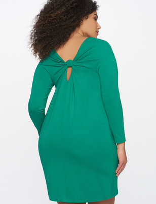 Easy Long Sleeve Dress with Knotted Back Detail
