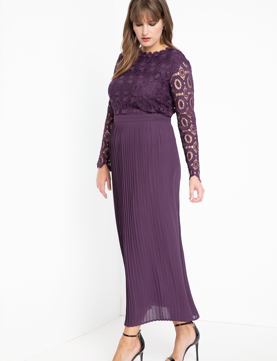 Lace Evening Dress with Pleated Skirt