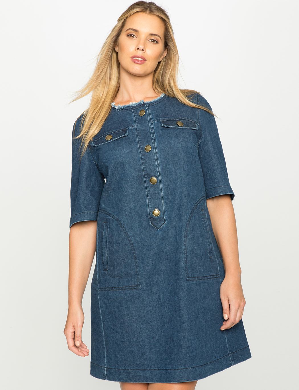 Easy Denim Dress | Women\'s Plus Size Dresses | ELOQUII