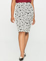 Floral Knit Pencil Skirt Black/White