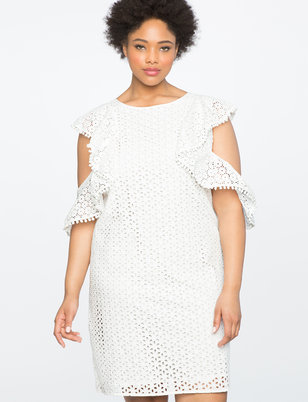 Cold Shoulder Eyelet Dress