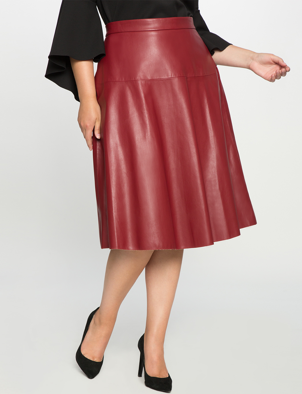 Faux Leather Midi Skirt | Women\'s Plus Size Skirts | ELOQUII
