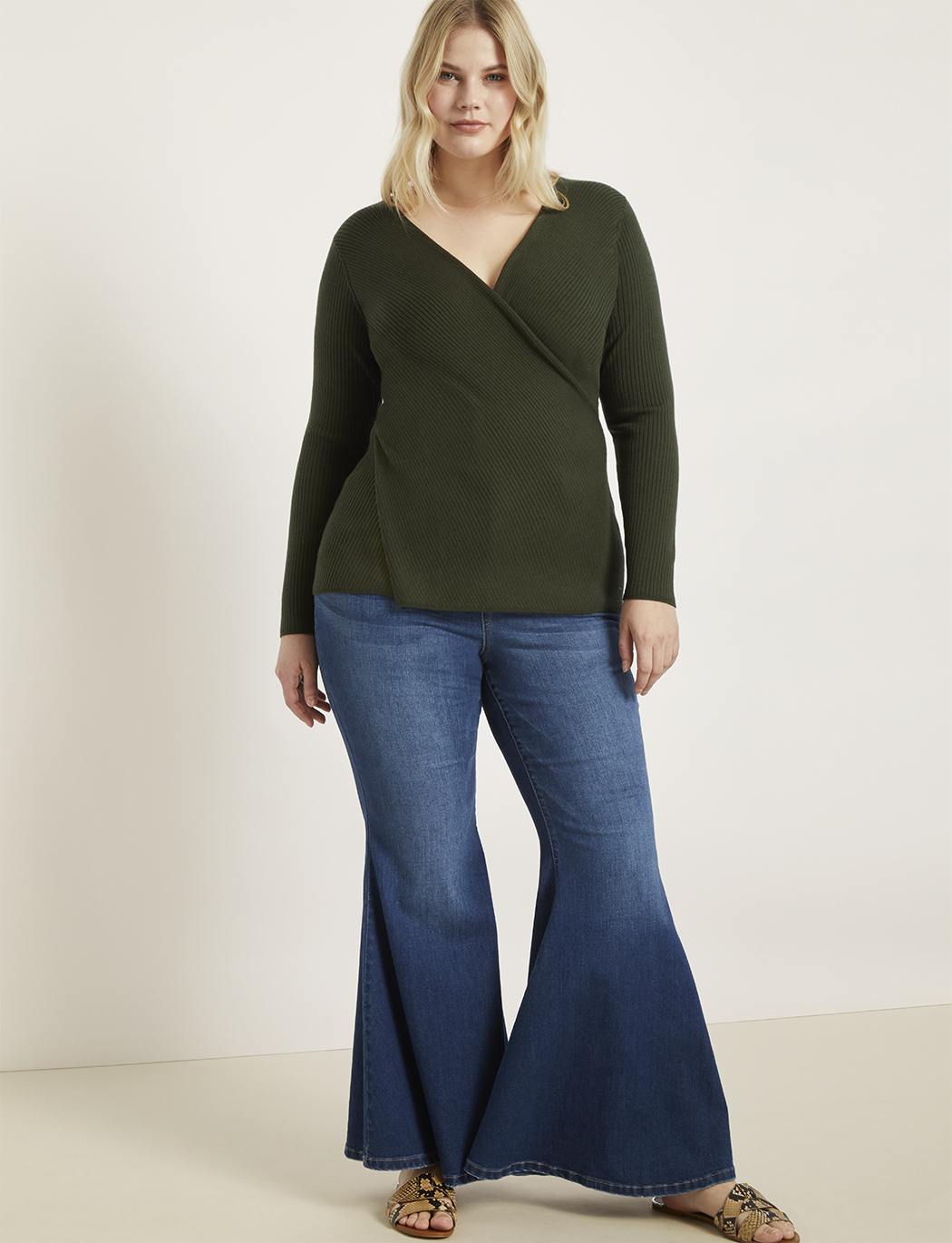 Ribbed Cross Front Sweater