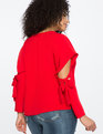 Cutout Sleeve Top With Tie Detail BOUQUET RED