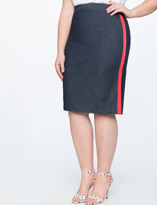 Denim Pencil Skirt with Side Stripe