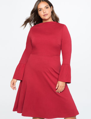 Flare Sleeve Midi Dress