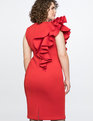 Ruffle Shoulder Dress Bright Red