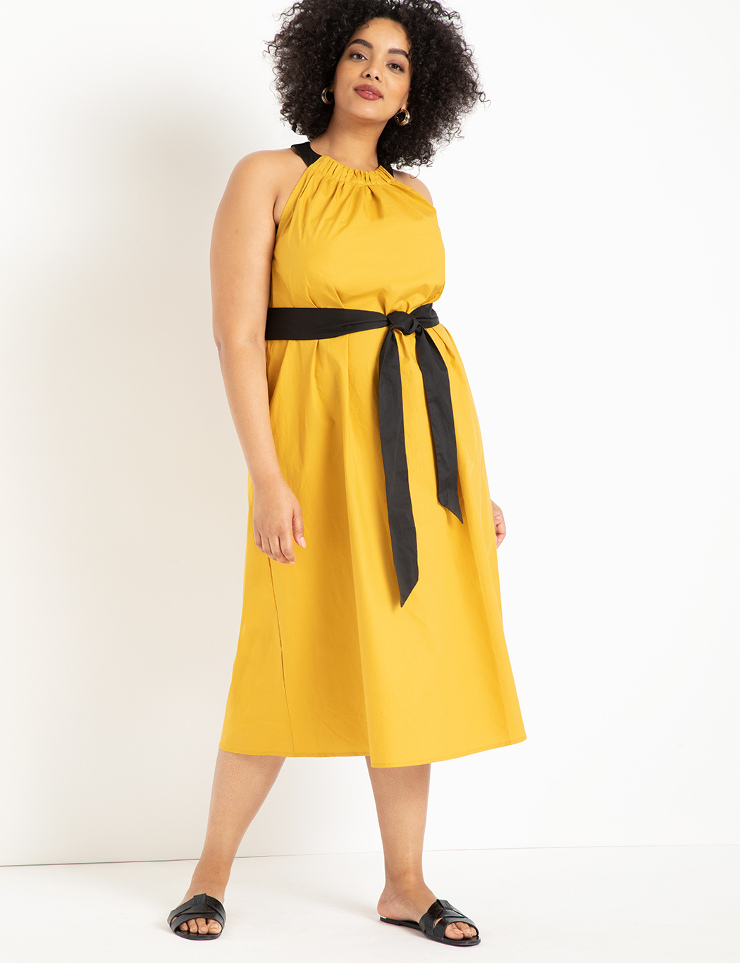 Halter Midi Dress with Contrast Belt