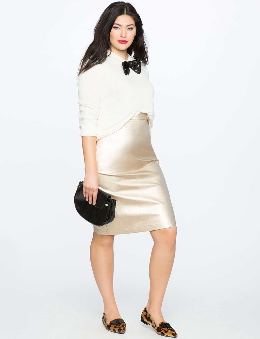 Studio Metallic Faux Leather Pencil Skirt