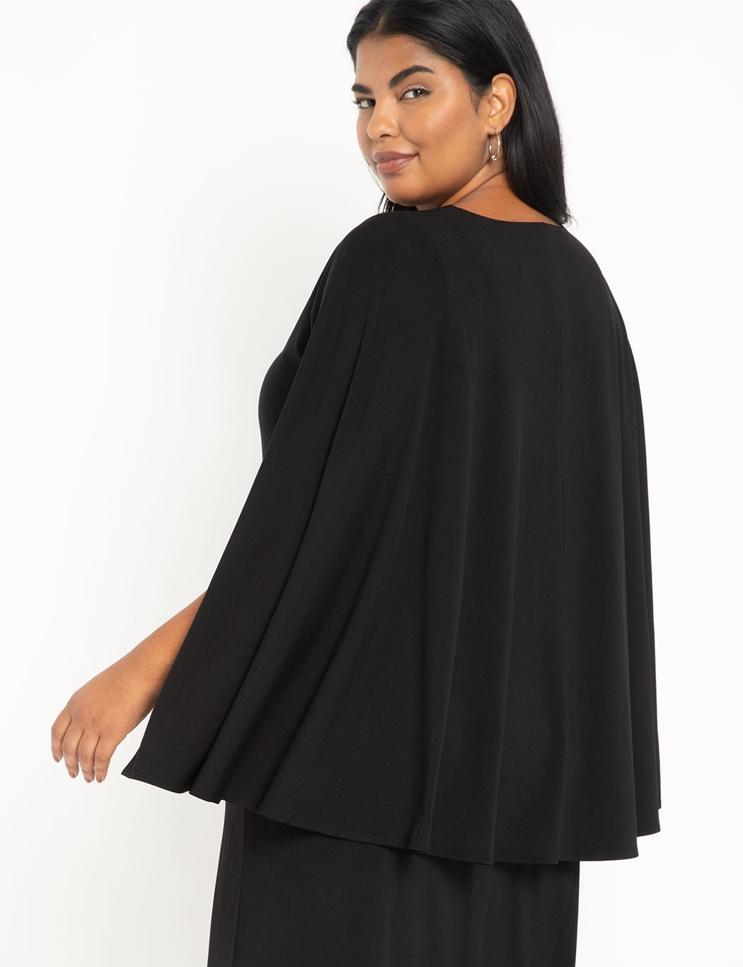 Cape Midi Dress With Slit
