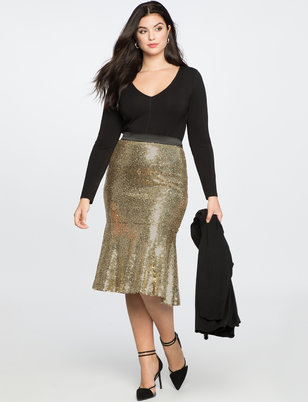 Sequin Trumpet Midi Skirt