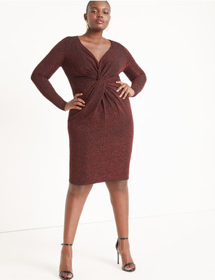 Knot Front Deep V Dress