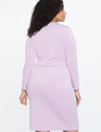 Long Sleeve Scuba Dress with Tie Lilac
