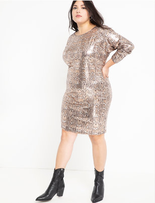 Sequin Easy Dress with V Back