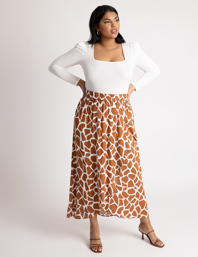Printed Pull-on Faux Wrap Skirt